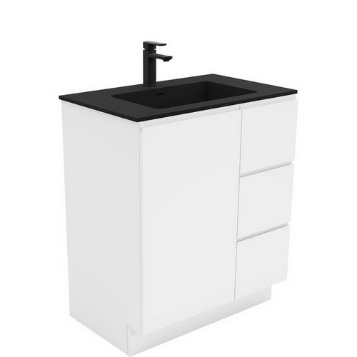 Montana 750 Solid Surface Moulded Basin-Top + Fingerpull Gloss White Cabinet on Kick Board 1 Door 3 Left Drawer 3 Tap Hole [196407]
