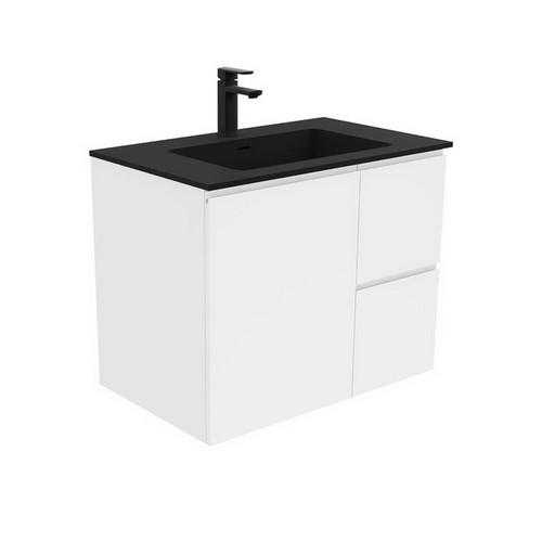 Montana 750 Solid Surface Moulded Basin-Top + Fingerpull Gloss White Cabinet Wall-Hung 1 Door 2 Left Drawer 3 Tap Hole [196411]