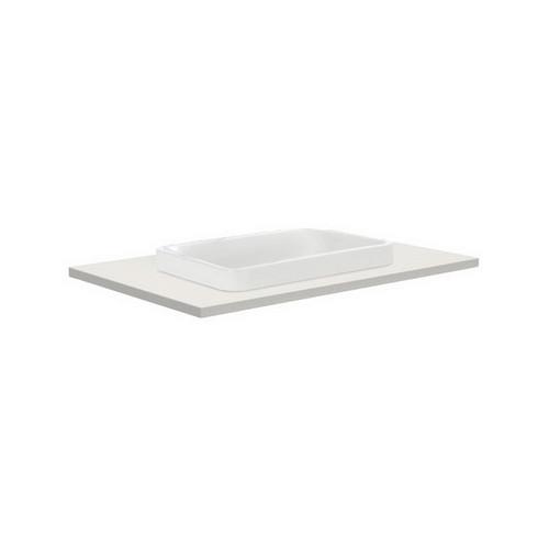 Sarah Roman Sand 750 Semi-inset Basin-Top + Fingerpull Satin White Cabinet on Kick Board 1 Door 2 Right Drawer 3 Tap Hole [196769]