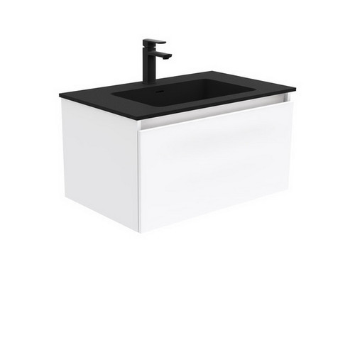 Montana 750 Solid Surface Moulded Basin-Top + Manu Gloss White Cabinet Wall-Hung 2 Internal Drawer 1 Tap Hole [196414]