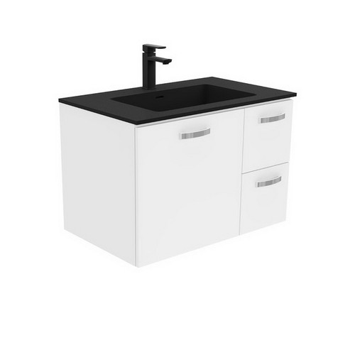 Montana 750 Solid Surface Moulded Basin-Top + Unicab Gloss White Cabinet Wall-Hung 1 Door 2 Left Drawer 3 Tap Hole [196417]