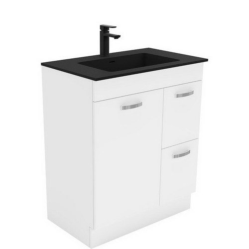 Montana 750 Solid Surface Moulded Basin-Top + Unicab Gloss White Cabinet on Kick Board 1 Door 2 Left Drawer 3 Tap Hole [196421]