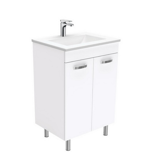 Vanessa 600 Poly-Marble Moulded Basin-Top + Unicab Gloss White Cabinet on Legs 3 Tap Hole [197874]