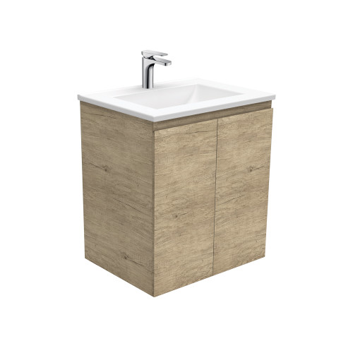 Vanessa 600 Poly-Marble Moulded Basin-Top + Edge Scandi Oak Cabinet Wall-Hung 1 Tap Hole [197877]