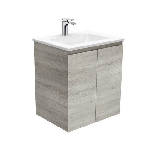 Vanessa 600 Poly-Marble Moulded Basin-Top + Edge Industrial Cabinet Wall-Hung 3 Tap Hole [197880]