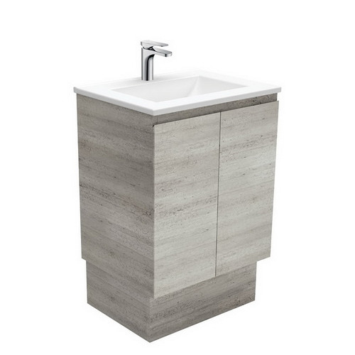 Vanessa 600 Poly-Marble Moulded Basin-Top + Edge Industrial Cabinet on Kick Board 3 Tap Hole [197882]