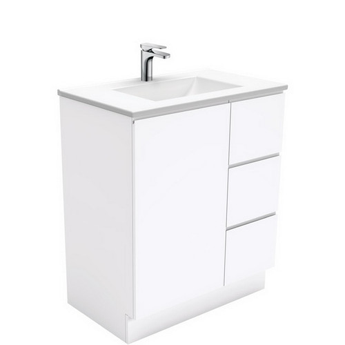 Vanessa 750 Poly-Marble Moulded Basin-Top, Single Bowl + Fingerpull Gloss White Cabinet on Kick Board 1 Door 3 Left Drawer 1 Tap Hole [197887]