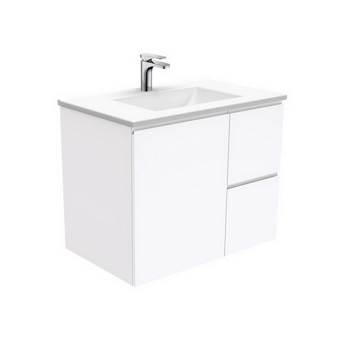 Vanessa 750 Poly-Marble Moulded Basin-Top, Single Bowl + Fingerpull Gloss White Cabinet Wall-Hung 1 Door 2 Right Drawer 1 Tap Hole [197893]