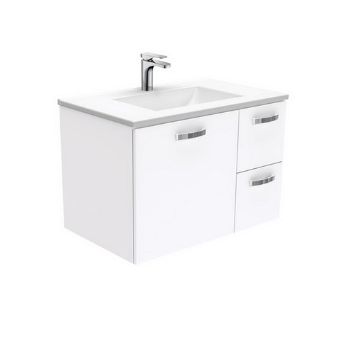 Vanessa 750 Poly-Marble Moulded Basin-Top, Single Bowl + Unicab Gloss White Cabinet Wall-Hung 1 Door 2 Right Drawer 3 Tap Hole [197898]