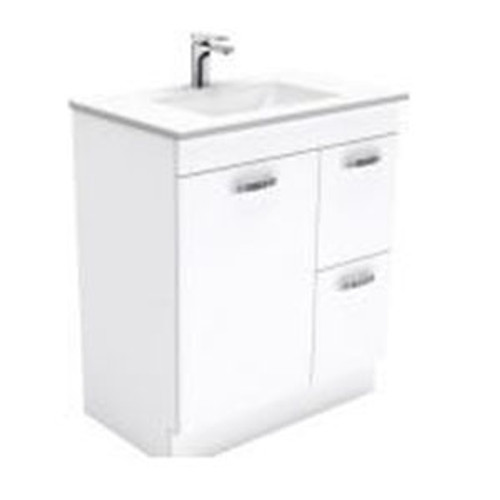 Vanessa 750 Poly-Marble Moulded Basin-Top, Single Bowl + Unicab Gloss White Cabinet on Kick Board 1 Door 2 Left Drawer 3 Tap Hole [197899]