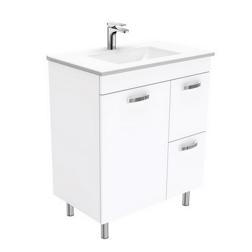 Vanessa 750 Poly-Marble Moulded Basin-Top, Single Bowl + Unicab Gloss White Cabinet on Legs 1 Door 2 Right Drawer 3 Tap Hole [197902]