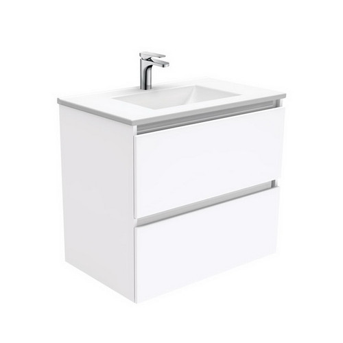 Vanessa 750 Poly-Marble Moulded Basin-Top, Single Bowl + Quest Gloss White Cabinet Wall-Hung 2 Drawer 1 Tap Hole [197905]