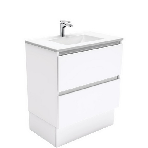 Vanessa 750 Poly-Marble Moulded Basin-Top, Single Bowl + Quest Gloss White Cabinet on Kick Board 2 Drawer 1 Tap Hole [197907]