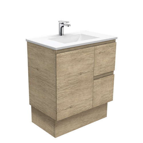 Vanessa 750 Poly-Marble Moulded Basin-Top, Single Bowl + Edge Scandi Oak Cabinet on Kick Board 1 Door 2 Left Drawer 3 Tap Hole [197910]