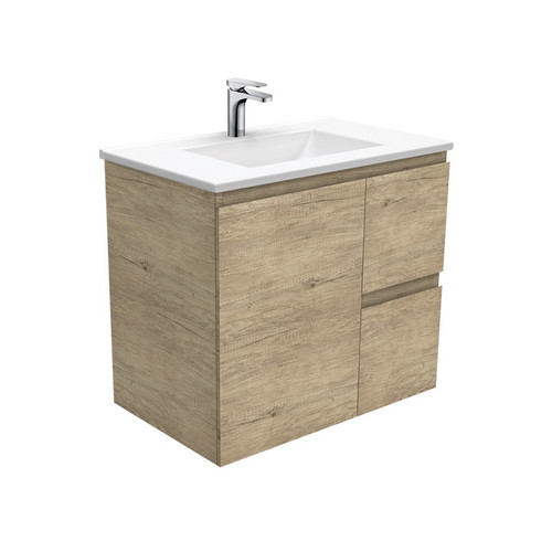 Vanessa 750 Poly-Marble Moulded Basin-Top, Single Bowl + Edge Scandi Oak Cabinet Wall-Hung 1 Door 2 Right Drawer 1 Tap Hole [197915]