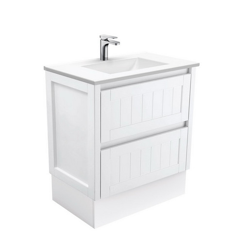 Vanessa 750 Poly-Marble Moulded Basin-Top, Single Bowl + Hampton Satin White Cabinet on Kick Board 3 Tap Hole [197920]