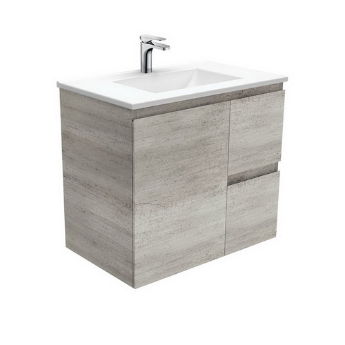 Vanessa 750 Poly-Marble Moulded Basin-Top, Single Bowl + Edge Industrial Cabinet Wall-Hung 1 Door 2 Left Drawer 1 Tap Hole [197925]