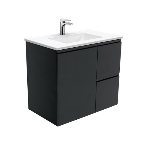 Vanessa 750 Poly-Marble Moulded Basin-Top, Single Bowl + Fingerpull Satin Black Cabinet Wall-Hung 1 Door 2 Right Drawer 3 Tap Hole [197936]