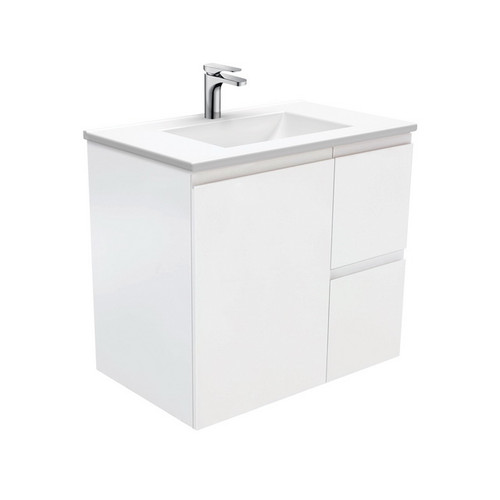 Vanessa 750 Poly-Marble Moulded Basin-Top, Single Bowl + Fingerpull Satin White Cabinet Wall-Hung 1 Door 2 Right Drawer 3 Tap Hole [197944]