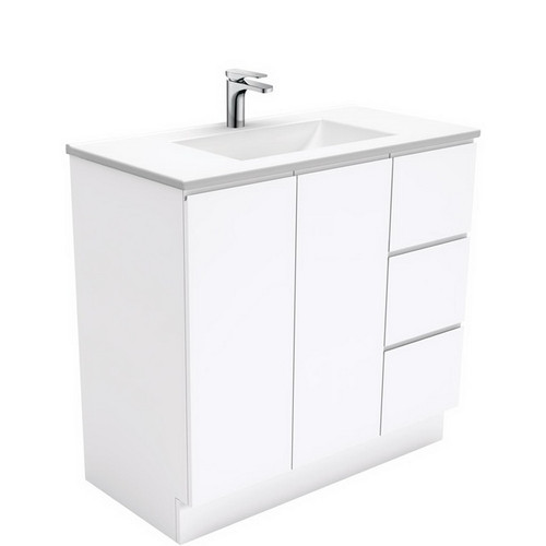 Vanessa 900 Poly-Marble Moulded Basin-Top, Single Bowl + Fingerpull Gloss White Cabinet on Kick Board 2 Door 3 Right Drawer 1 Tap Hole [197951]