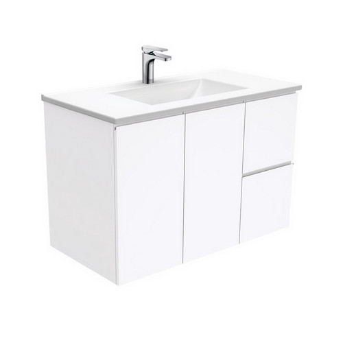 Vanessa 900 Poly-Marble Moulded Basin-Top, Single Bowl + Fingerpull Gloss White Cabinet Wall-Hung 2 Door 2 Left Drawer 3 Tap Hole [197954]