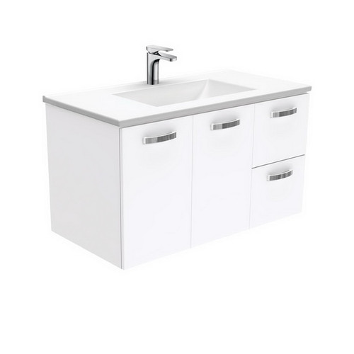 Vanessa 900 Poly-Marble Moulded Basin-Top, Single Bowl + Unicab Gloss White Cabinet Wall-Hung 2 Door 2 Right Drawer 3 Tap Hole [197960]
