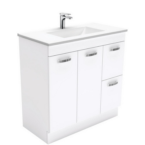 Vanessa 900 Poly-Marble Moulded Basin-Top, Single Bowl + Unicab Gloss White Cabinet on Kick Board 2 Door 2 Right Drawer 3 Tap Hole [197962]