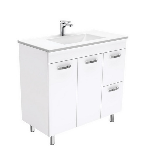 Vanessa 900 Poly-Marble Moulded Basin-Top, Single Bowl + Unicab Gloss White Cabinet on Legs 2 Door 2 Right Drawer 3 Tap Hole [197964]
