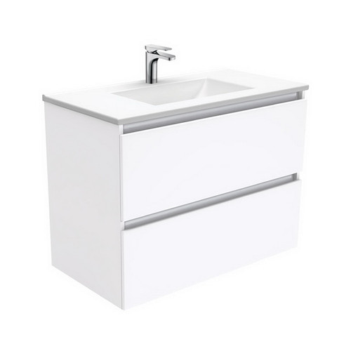 Vanessa 900 Poly-Marble Moulded Basin-Top, Single Bowl + Quest Gloss White Cabinet Wall-Hung 2 Drawer 1 Tap Hole [197967]