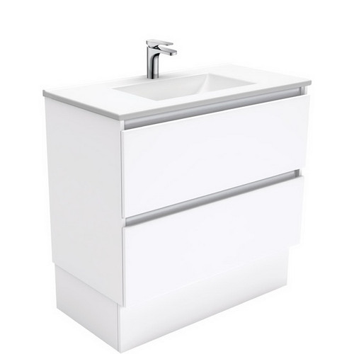 Vanessa 900 Poly-Marble Moulded Basin-Top, Single Bowl + Quest Gloss White Cabinet on Kick Board 2 Drawer 3 Tap Hole [197970]