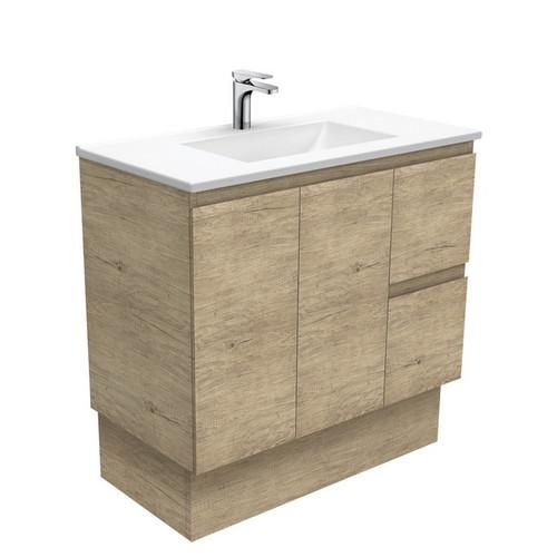 Vanessa 900 Poly-Marble Moulded Basin-Top, Single Bowl + Edge Scandi Oak Cabinet on Kick Board 2 Door 2 Left Drawer 1 Tap Hole [197971]