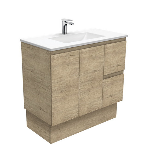 Vanessa 900 Poly-Marble Moulded Basin-Top, Single Bowl + Edge Scandi Oak Cabinet on Kick Board 2 Door 2 Right Drawer 1 Tap Hole [197973]