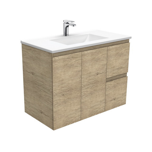 Vanessa 900 Poly-Marble Moulded Basin-Top, Single Bowl + Edge Scandi Oak Cabinet Wall-Hung 2 Door 2 Left Drawer 3 Tap Hole [197976]