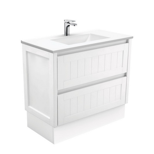 Vanessa 900 Poly-Marble Moulded Basin-Top, Single Bowl + Hampton Satin White Cabinet on Kick Board 1 Tap Hole [197981]