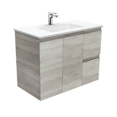 Vanessa 900 Poly-Marble Moulded Basin-Top, Single Bowl + Edge Industrial Cabinet Wall-Hung 2 Door 2 Left Drawer 3 Tap Hole [197988]