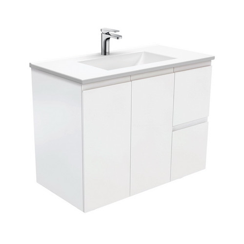Vanessa 900 Poly-Marble Moulded Basin-Top, Single Bowl + Fingerpull Satin White Cabinet Wall-Hung 2 Door 2 Left Drawer 1 Tap Hole [198003]