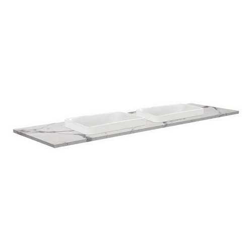 Sarah Calacatta Marble 1500 Semi-inset Basin-Top, Double Bowl + Edge Industrial Cabinet on Kick Board 1 Tap Hole [195762]