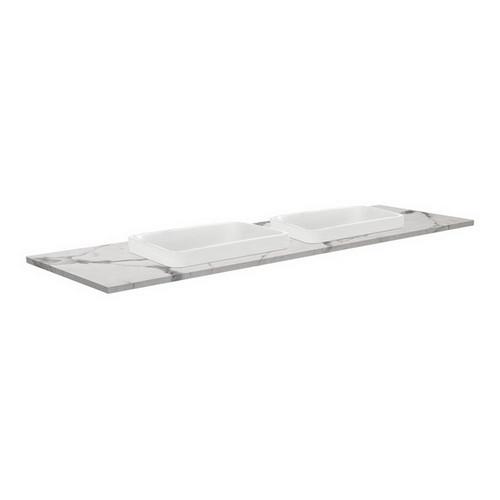 Sarah Calacatta Marble 1500 Semi-inset Basin-Top, Double Bowl + Edge Industrial Cabinet on Kick Board 3 Tap Hole [195764]