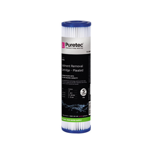 "Pleated Sediment Water Filter Cartridge, 10"", 5 Micron [251414]"