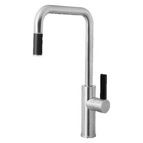 Luz Square Sink Mixer with Pull-Out Brushed Chrome Black Lever [136839]