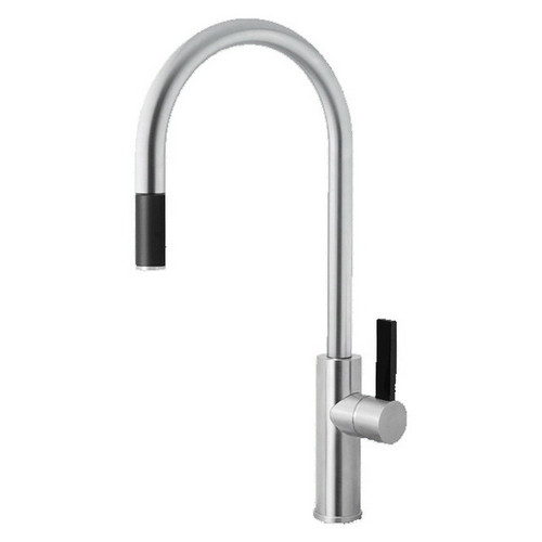 Luz Gooseneck Sink Mixer with Pull-Out Brushed Chrome Black Lever [136840]