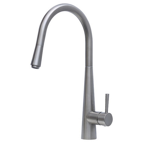 Isabella Deluxe Gooseneck Kitchen Mixer with Pull-Out Brushed Nickel [165824]