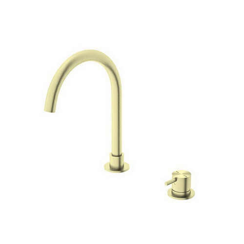Mecca Hob Mount Basin Mixer Round Spout Brushed Gold [194750]
