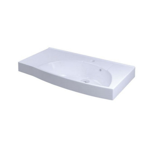 Sign Wall Basin 770mm x 420mm x 160mm Right Bowl 1 Tap Hole Overflow White [122970]