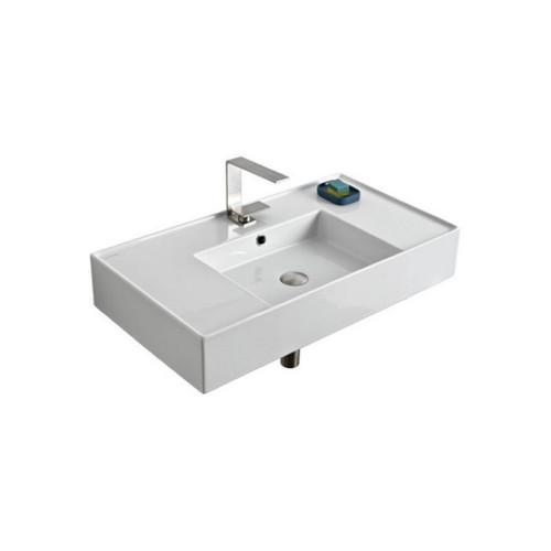 Teorema Wall Basin 810mm x 440mm x 140mm Centre Bowl Gloss White [169956]