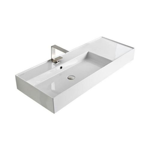 Teorema Wall Basin 1210mm x 460mm x 160mm Left Offset Bowl Gloss White [169963]
