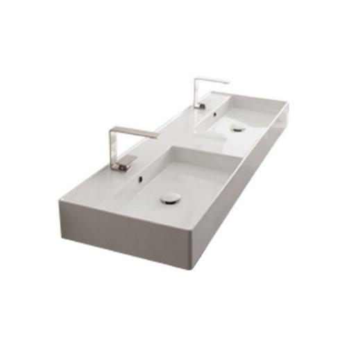 Teorema Wall Basin 1415mm x 460mm x 160mm Double Bowl Gloss White [169965]