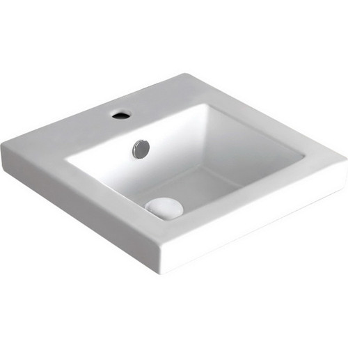 Alison Semi-Inset Basin 405mm x 405mm x 175mm 1 Tap Hole Gloss White [193178]