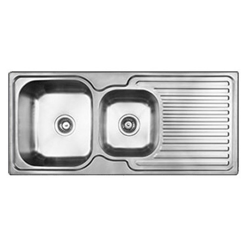 Entry 1 & 3/4 Right Hand Double Bowl Sink with Drainer 1080 x 480mm 1 Tap Hole Stainless Steel [134176]