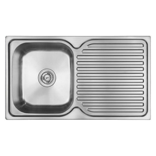 Entry Single Left Hand Bowl Sink with Drainer 840 x 480mm 1 Tap Hole Stainless Steel [165135]